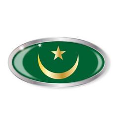 Mauritania flag oval button vector
