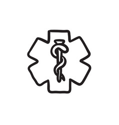 Medical symbol sketch icon vector