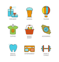 minimal lineart flat shopping iconset vector image