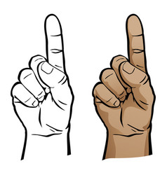 Number one hand finger pointing up vector