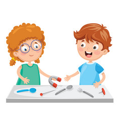 of kids using magnet vector image
