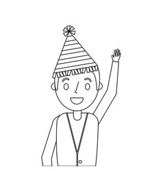 Older man with party hat waving hand vector