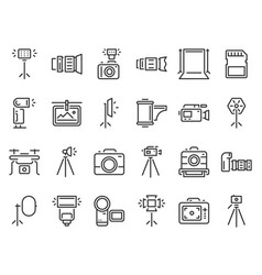 outline photo icons photography studio light vector image