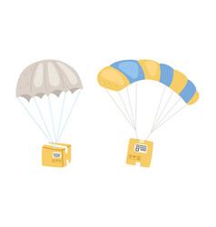 parcels with parachute vector image