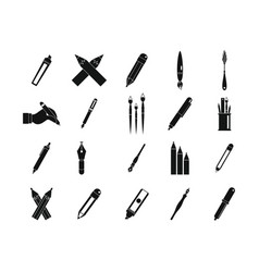 pen pencil icon set simple style vector image