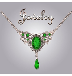 Pendant necklace with precious stones vector image