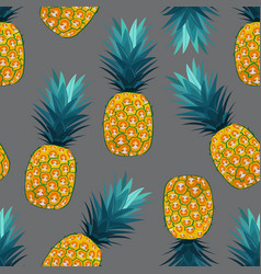 Pineapple seamless pattern on silver gray vector