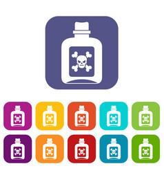 poison icons set vector image