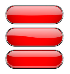 Red oval buttons with chrome frame vector