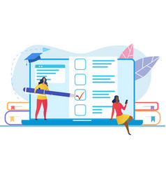 remote learning concept with online questionnaire vector image
