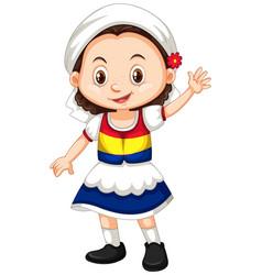 Romania girl waving hand hello vector