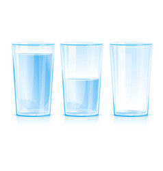 Set glasses with water vector