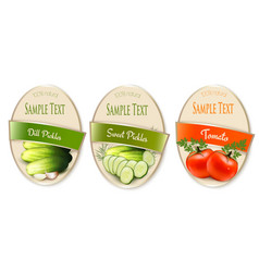 set labels with ecological tomato and pickles vector image