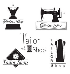set tailoring labels badges and emblems on vector image