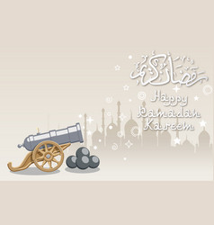 Silhouette mosque and big cannon vector