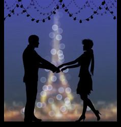 Silhouettes dancing couple against eiffel vector