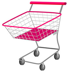 Single shopping cart with wheels vector image