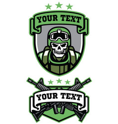 Skull soldier army badge set vector