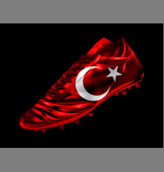 Soccer football boot with the flag of turkey vector