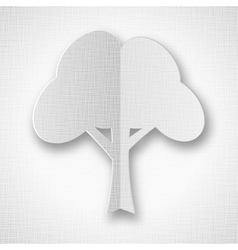 Stylized white paper tree with shadow vector