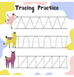 Trace line activity page for kids handwriting vector