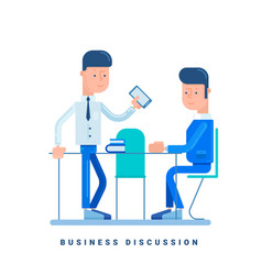 Two businessmen discussing business concept vector