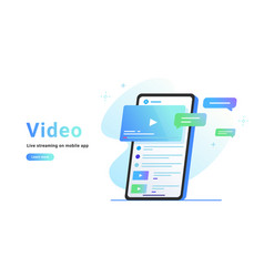 video watching and live streaming on mobile app vector image