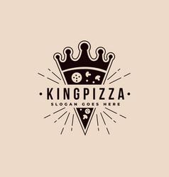 vintage retro crown and pizza logo icon template vector image