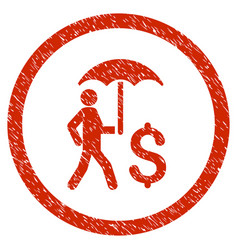 Walking banker under umbrella rounded grainy icon vector