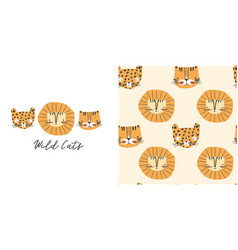 wild cats t-shirt design and seamless pattern vector image