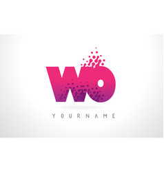 wo w o letter logo with pink purple color and vector image