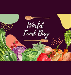 World food day frame design with bell pepper vector