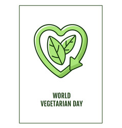 world vegetarian day greeting card with color vector image