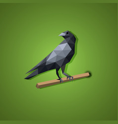 black raven bird in low polygon art vector image vector image