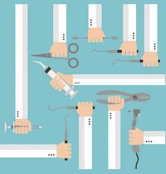 flat dental instruments set design concept vector image