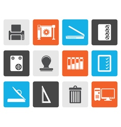 Flat Print industry Icons vector image vector image