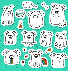 Set of 10 dogs doodle handmade stickers Dogs with vector image
