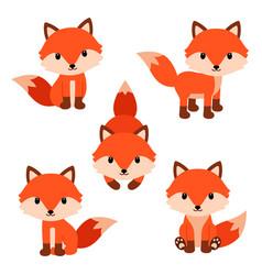 set of cute cartoon foxes in modern simple flat vector image