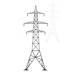 Silhouette high voltage power lines on a light vector image vector image