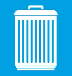 Trashcan icon white vector