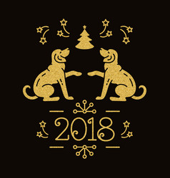 Chinese zodiac year of the dog 2018 christmas vector