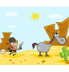 Cowboy Escapes To His Horse vector image vector image