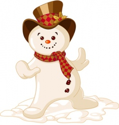 cute Christmas snowman vector image vector image
