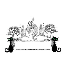 Halloween witch and her cat - abstract grunge vector image vector image
