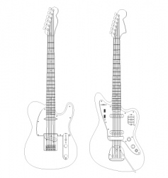 isolated guitars vector image vector image