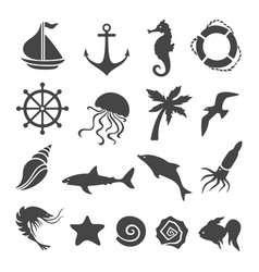 nautical sea related design elements set vector image vector image