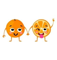 Orange Cute fruit character couple vector image