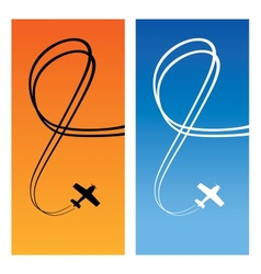 Plane over blue and orange vector image