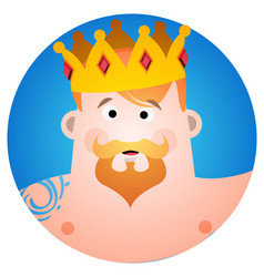 round sticker with a man in the crown cartoon for vector image vector image