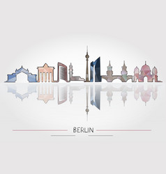 berlin skyline detailed silhouette vector image